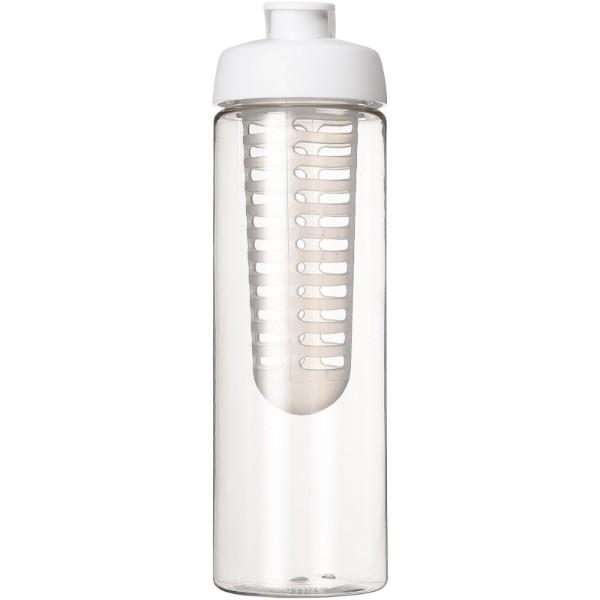 H2O Vibe 850 ml lahev s vyklápěcím víčkem a infuzérem - Průhledná / Bílá