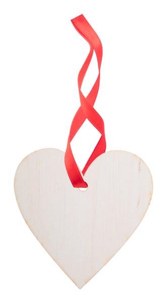 Christmas Tree Ornament WoXmas, Heart - Natural / Red