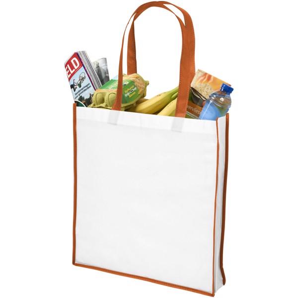Contrast large non-woven shopping tote bag - White / Orange