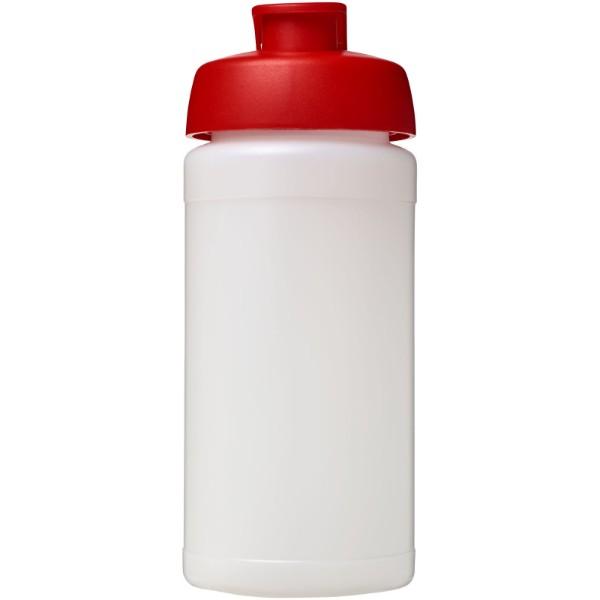 Baseline® Plus 500 ml Sportflasche mit Klappdeckel - Transparent / Rot