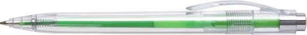 Plastic transparent ballpen with coloured refill - Light Green