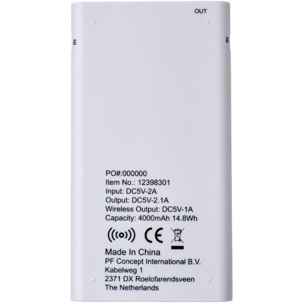 Parallax 4.000 mAh Powerbank mit kabelloser Ladefunktion - Weiss