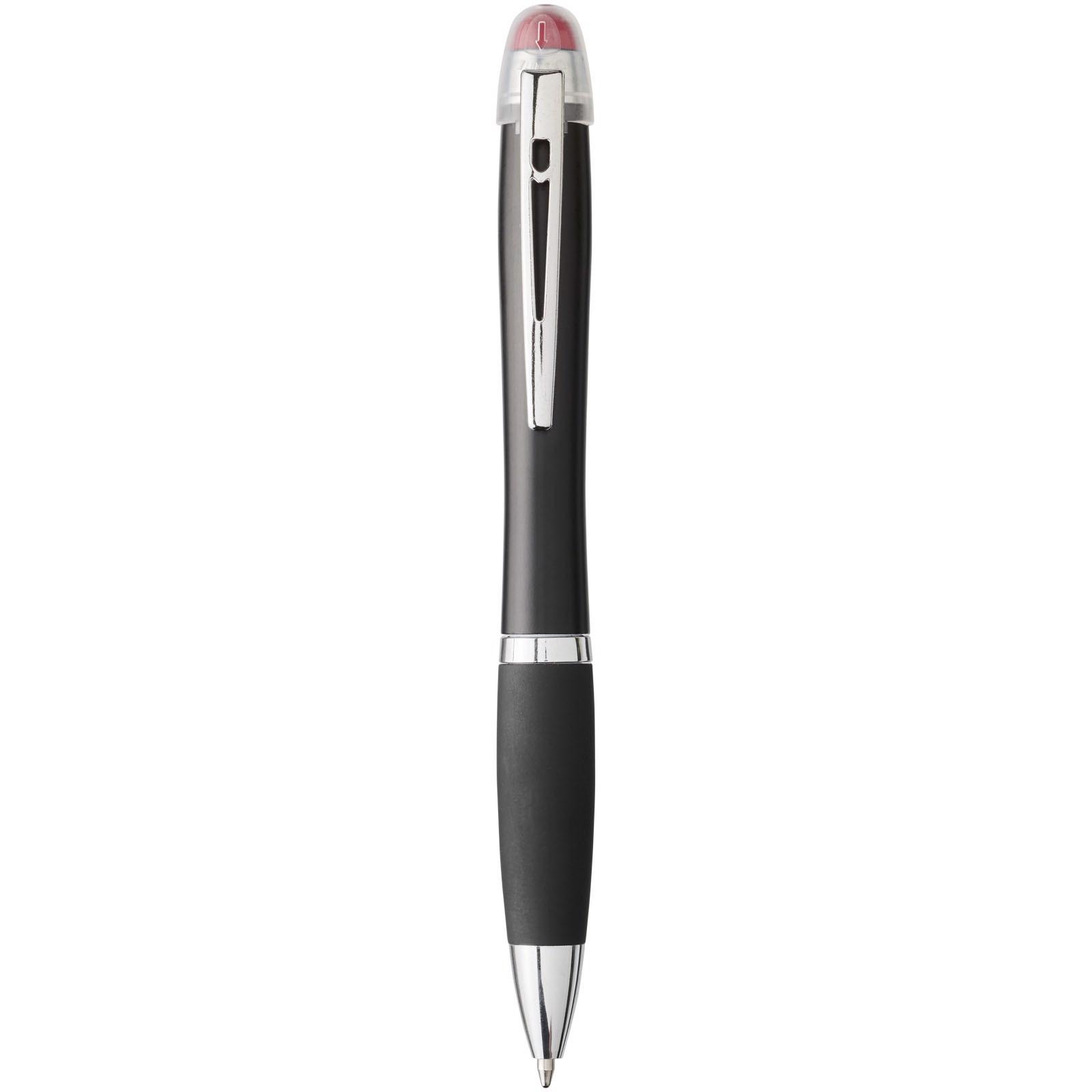 Nash svíticí kuličkové pero s černým tělem a úchopem - Červená s efektem námrazy