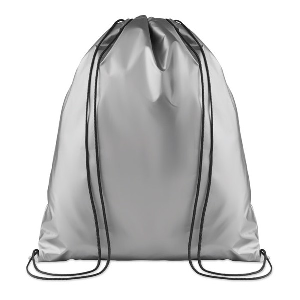 Drawstring bag shiny coating New York - Silver