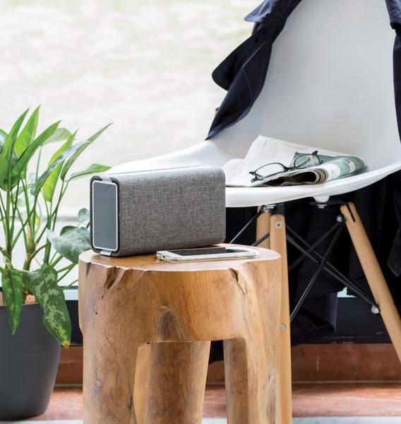 Vogue szövet borítású hangszóró és powerbank