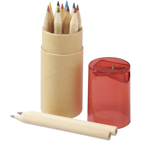 Hef 12-piece coloured pencil set with sharpener - Red