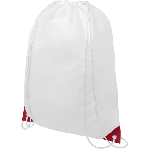Oriole drawstring backpack with coloured corners - White / Red