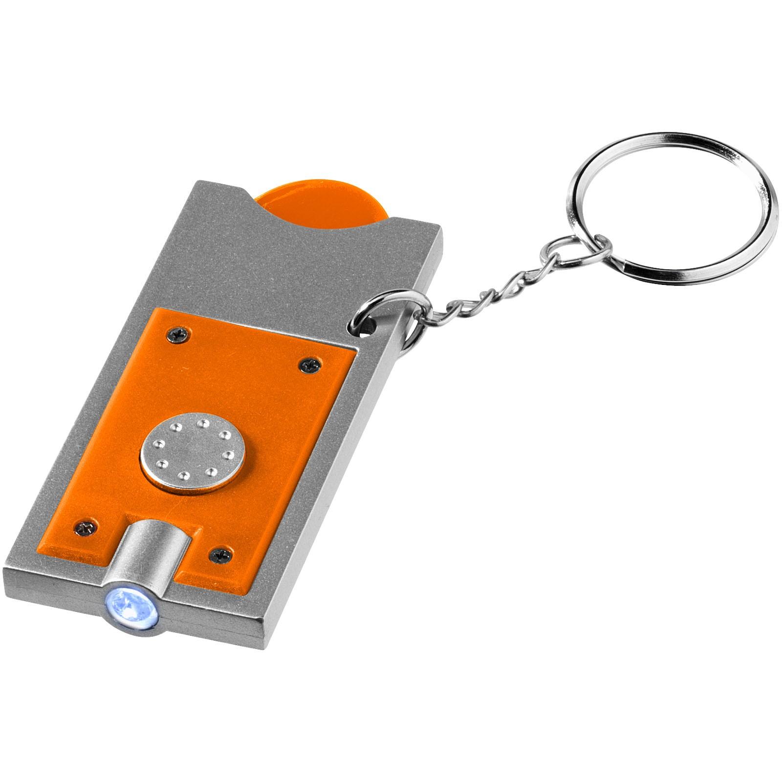 Klíčenkový držák na žeton Allegro s LED svítilnou - 0ranžová / Stříbrný