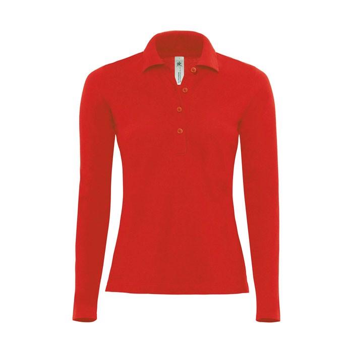 Damen Polo Shirt 180 g/m2 Ladies' Polo Ls - Red / S