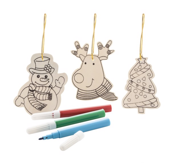 Colouring Christmas Tree Ornaments Andoya, 3 Pcs - Natural