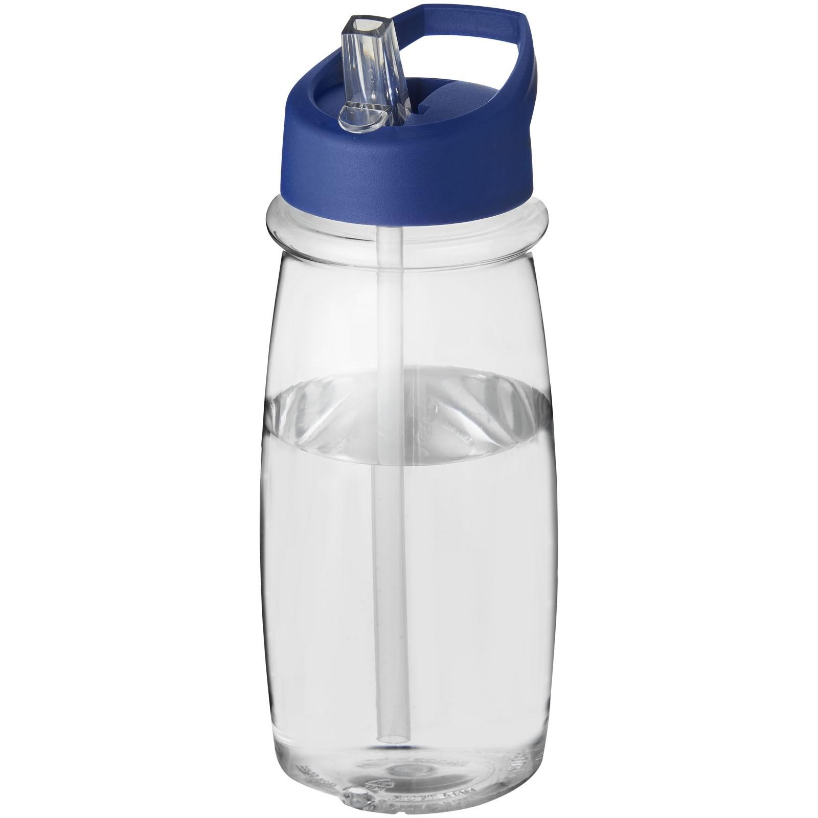 Sportovní láhev svíčkem shubičkou H2O Pulse 600 ml - Průhledná / Modrá