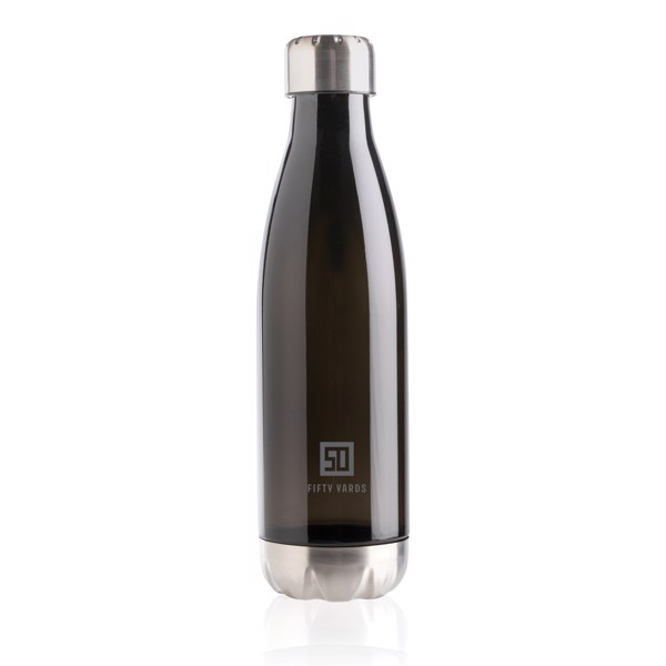 Leakproof water bottle with stainless steel lid - Black