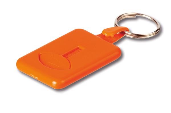 BUS. Coin-shaped keyring for supermarket trolley - Orange