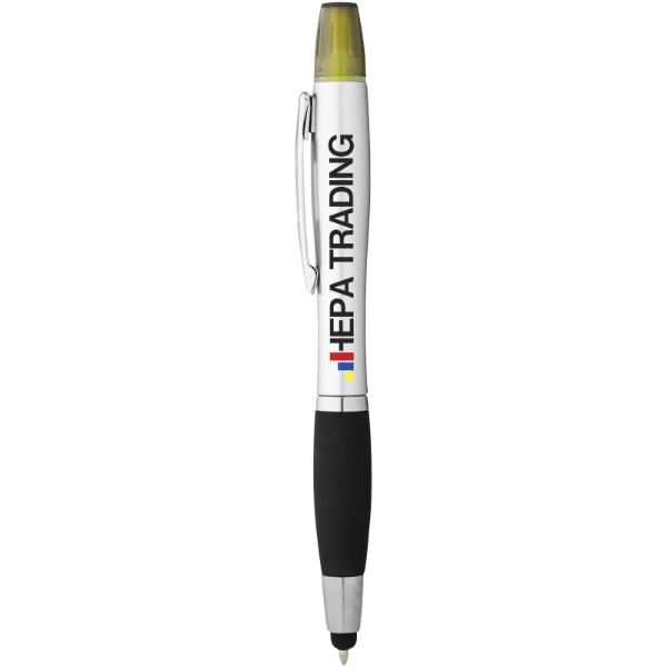 Kuličkové pero, stylus a zvýrazňovač Nash - Stříbrný / Černá
