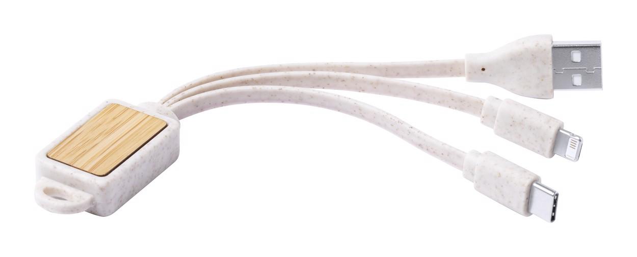 Obesek za ključe z USB polnilnimi kabli Korux - Beige / Natural