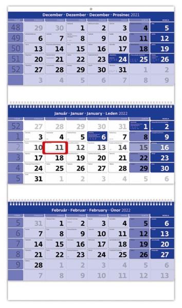 Slovenské trojmesačné menné so sviatkami európskych štátov (CZ / SK / A / B / D / F / H / CH / I / PL / RUS / UKR) Slovenský trojmesačný kalendár  so špirálou, 31,5x55,5cm+18cm - modrý