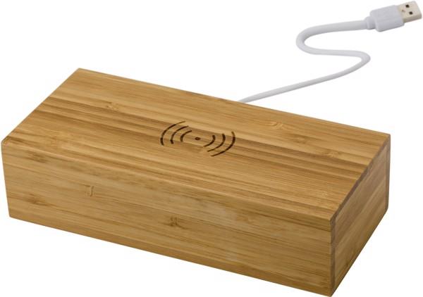 Reloj y cargador inalámbrico de bambú