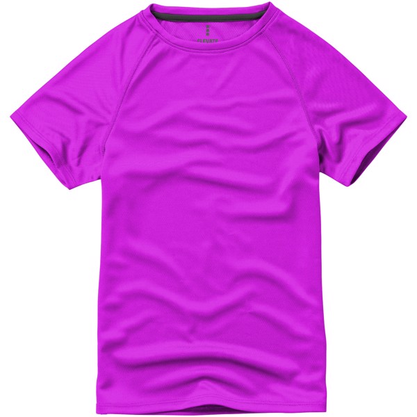 Dětské triko Niagara s krátkým rukávem, s povrchovou úpravou - Neonově Růžová / 140