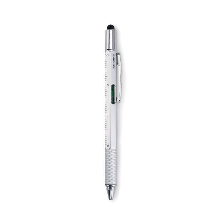 Długopis poziomica z liniją i Toolpen - srebrny mat