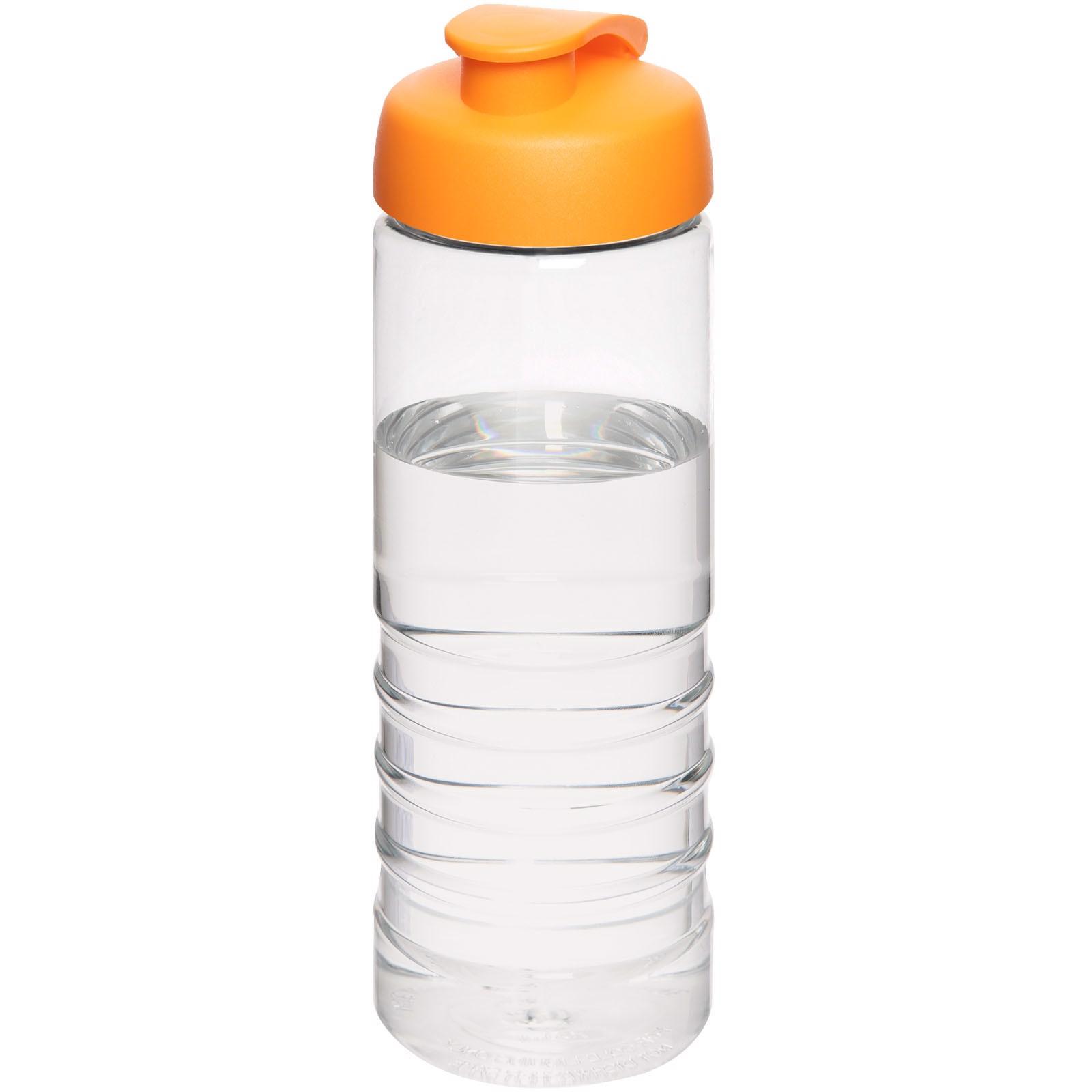H2O Treble 750 ml sportovní lahev s vyklápěcím víčkem - Průhledná / 0ranžová