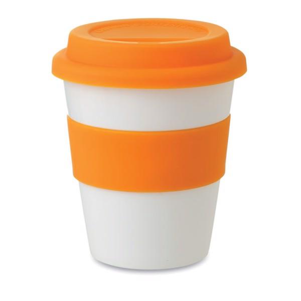 PP Becher mit Silikon-Deckel Astoria - orange