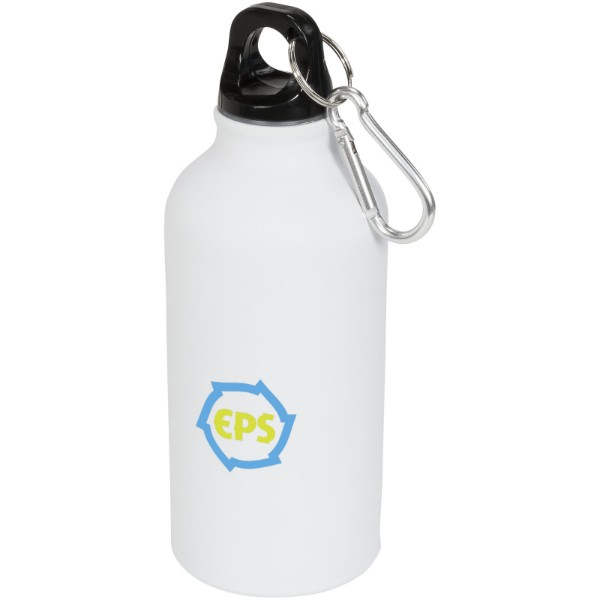 Matová sportovní láhev Oregon 400 ml s karabinkou - Bílá