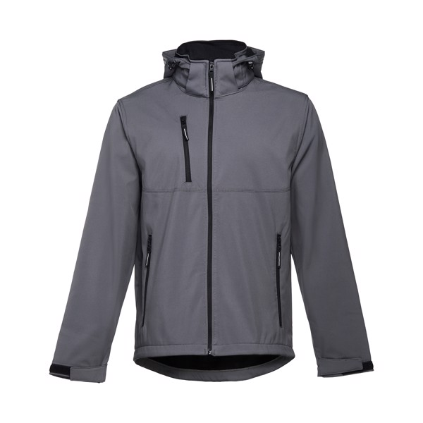 THC ZAGREB. Men's softshell with removable hood - Grey / XXL