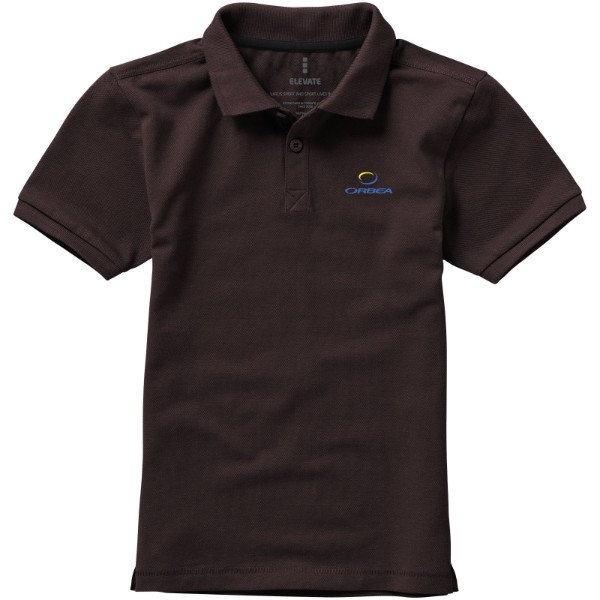 Calgary short sleeve kids polo - Chocolate Brown / 140