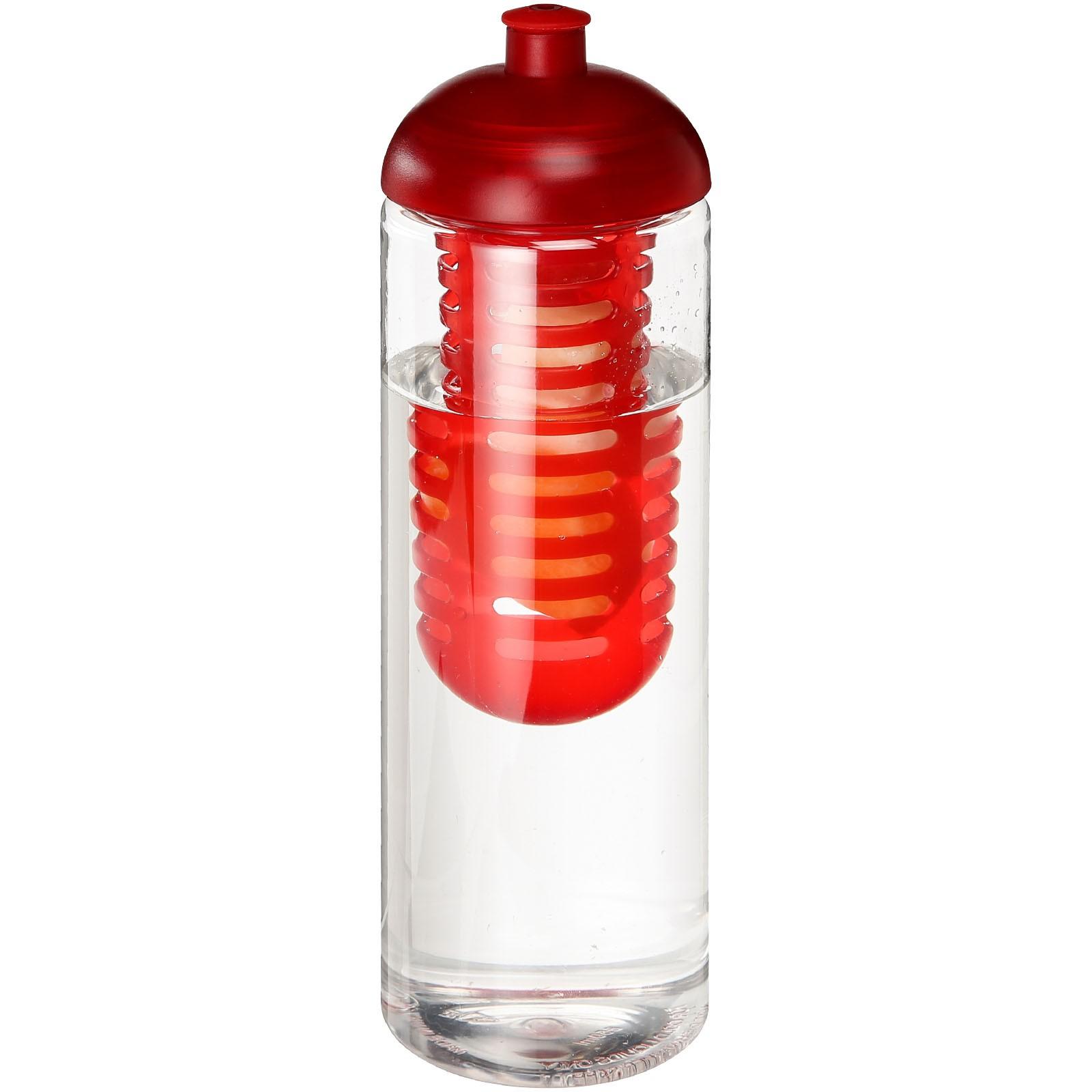 H2O Vibe 850 ml lahev s infuzérem a kupolovitým víčkem - Průhledná / Červená s efektem námrazy