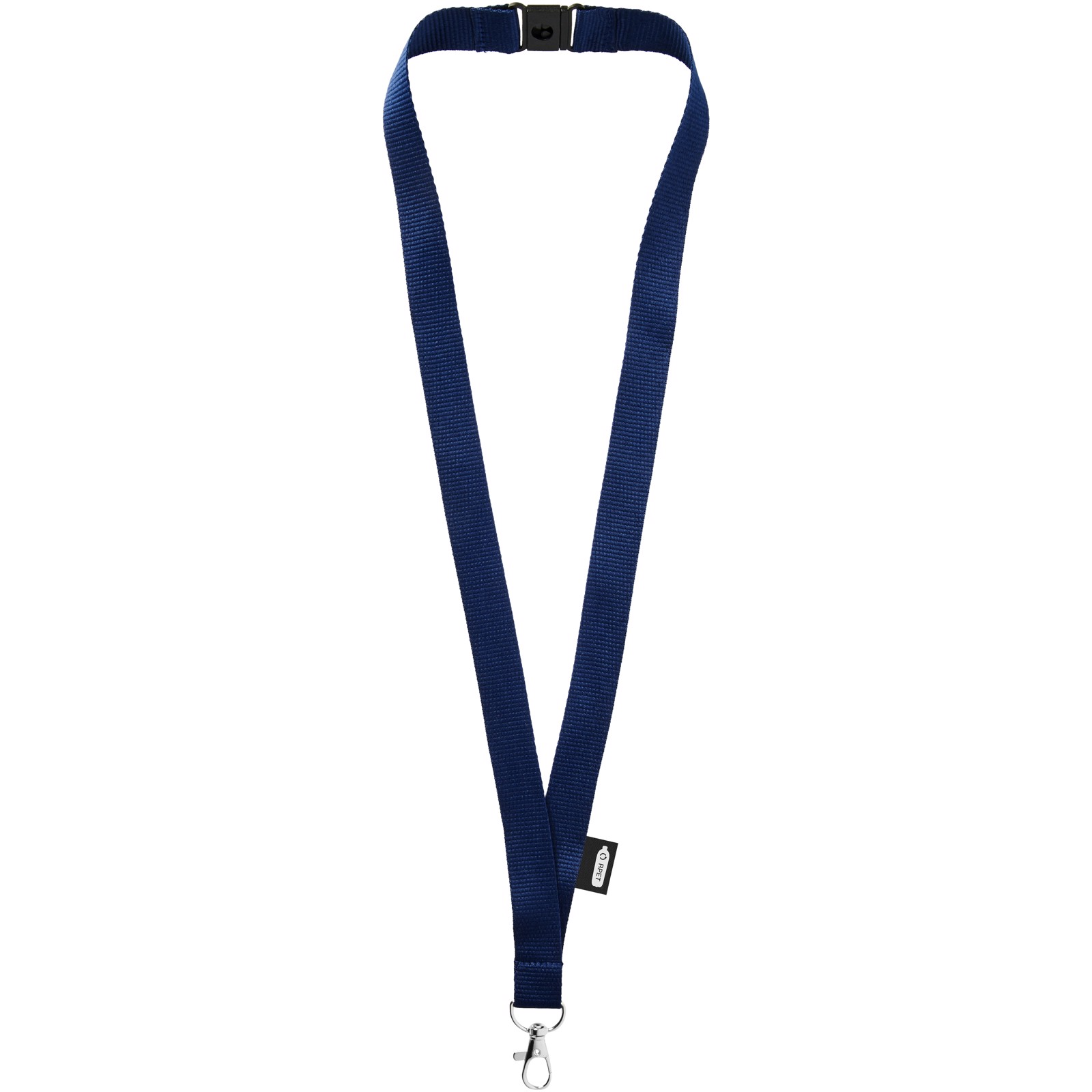 Tom recycled PET lanyard with breakaway closure - Navy