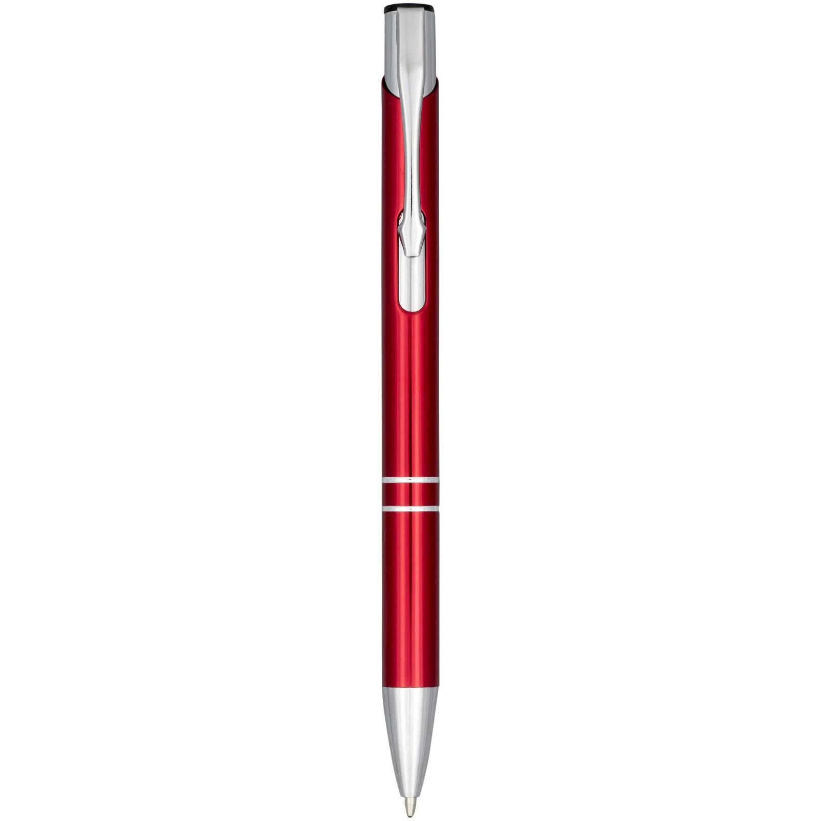 Moneta anodizované hliníkové stiskací kuličkové pero - Červená s efektem námrazy