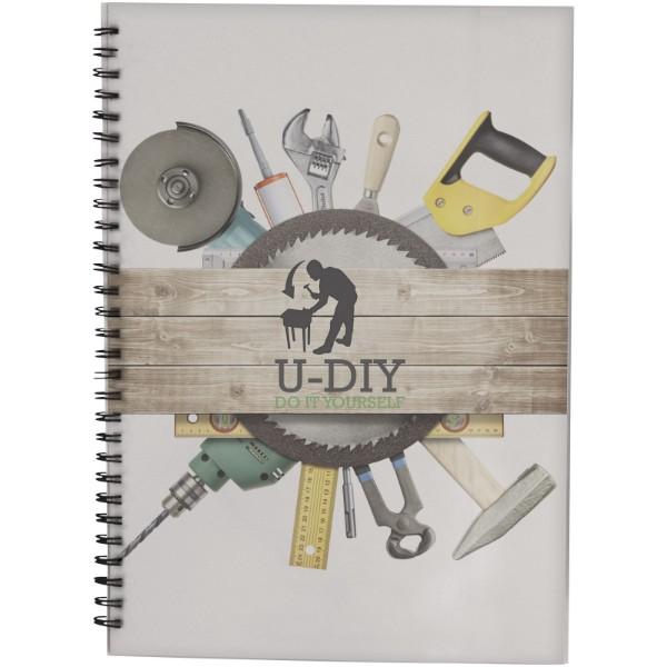 PP obal poznámkového bloku Desk-Mate® wire-o A4 - Bílá / Černá / 50 pages