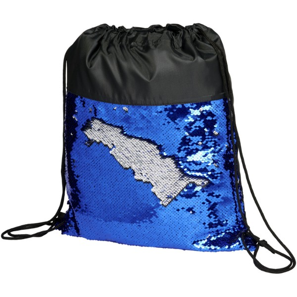Mermaid sequin drawstring backpack - Solid black / Blue