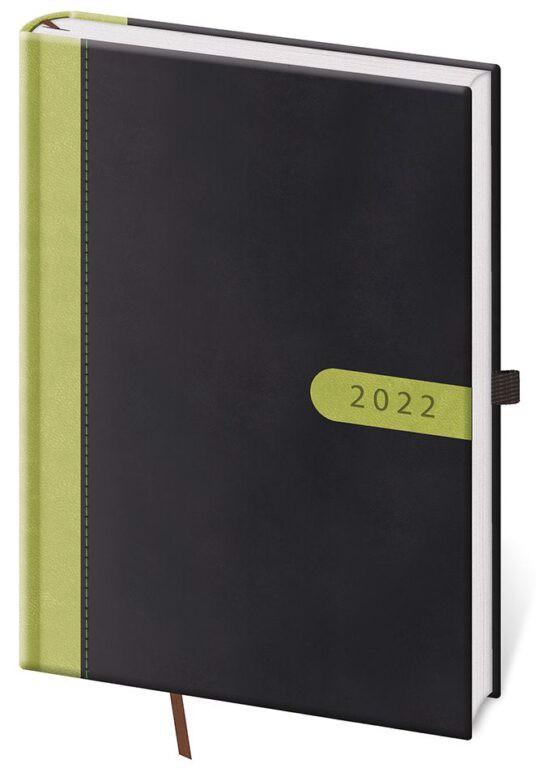 Denní diář A5 Bora černo/zelený 2022