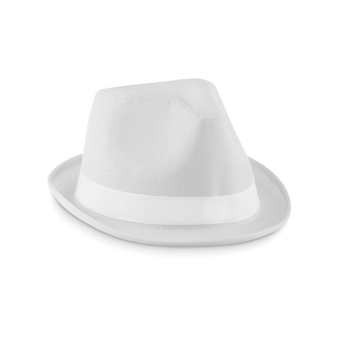 Coloured polyester hat Woogie - White