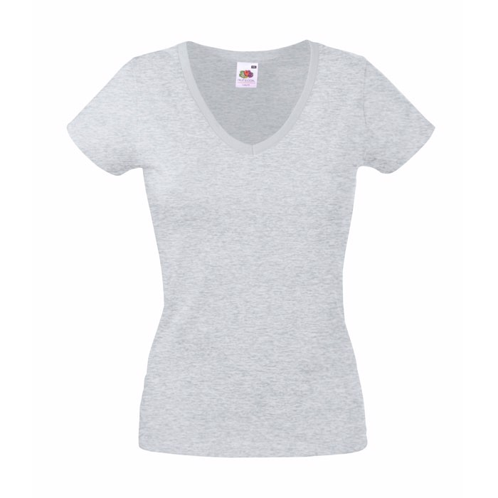 Damen V-T-Shirt 165 g/m² Lady-Fit Valueweight 61-398-0 - Grey Heather / XL