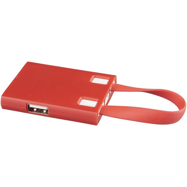 Revere 3-port USB hub with 3-in-1 cable - Red