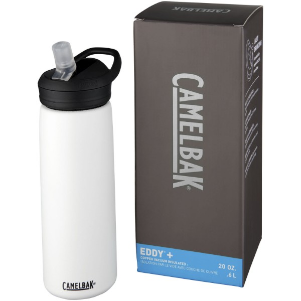 Eddy+ 600 ml copper vacuum insulated sport bottle - White
