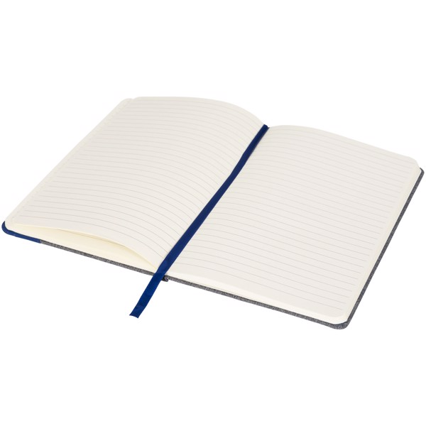 Heathered A5 notebook with leatherlook side - Blue