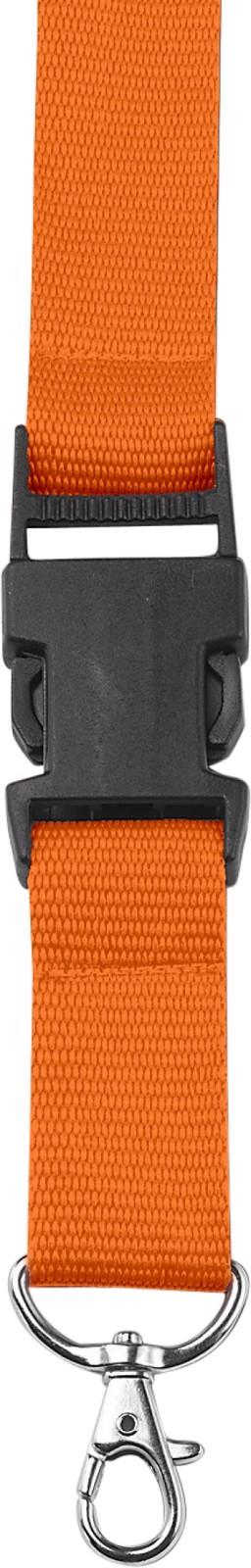 Polyester (300D) lanyard and key holder - Orange