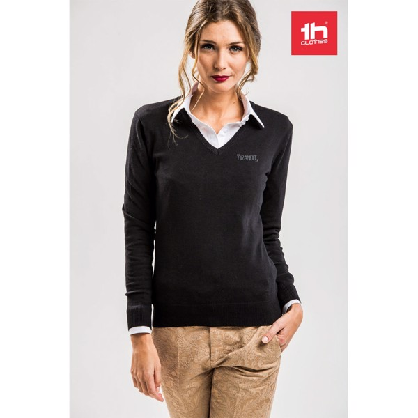 THC MILAN WOMEN. Women's V-neck jumper - Black / XXL