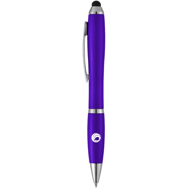 Barevné kuličkové pero a stylus Nash s barevným úchopem - Purpurová