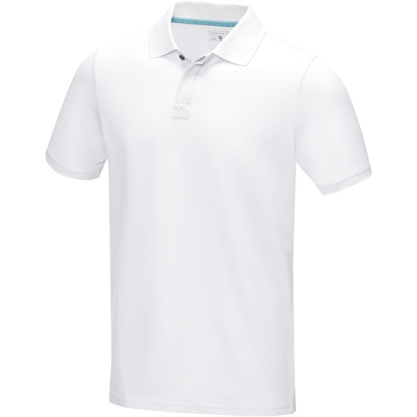 Graphite short sleeve men's GOTS organic polo - White / L