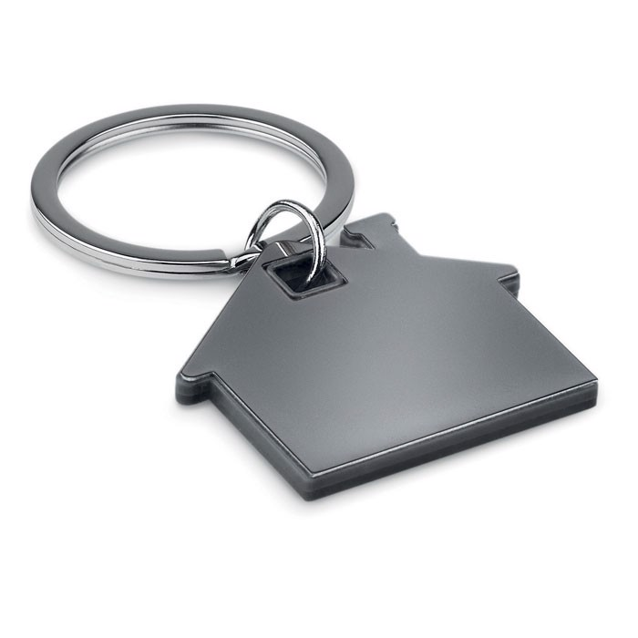 House shape plastic keyring Imba - Black
