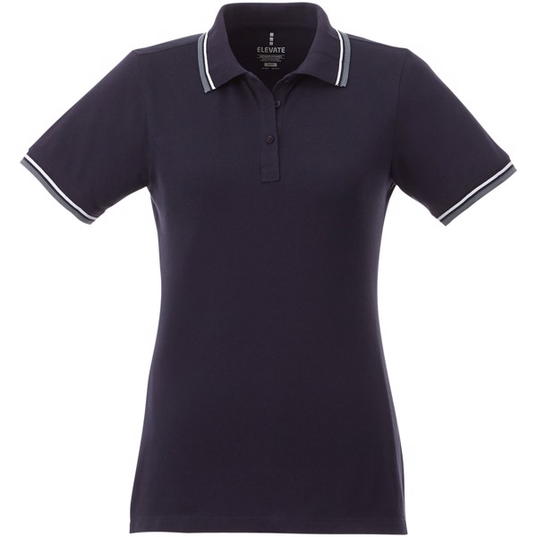 Fairfield short sleeve women's polo with tipping - Navy / Grey melange / White / XS