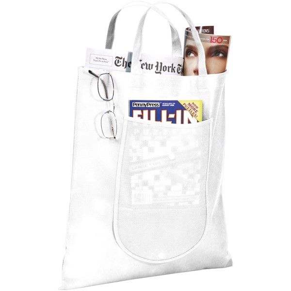 Maple buttoned foldable non-woven tote bag - White