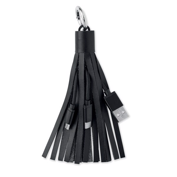Keyring with USB type C cable Tassel - Black