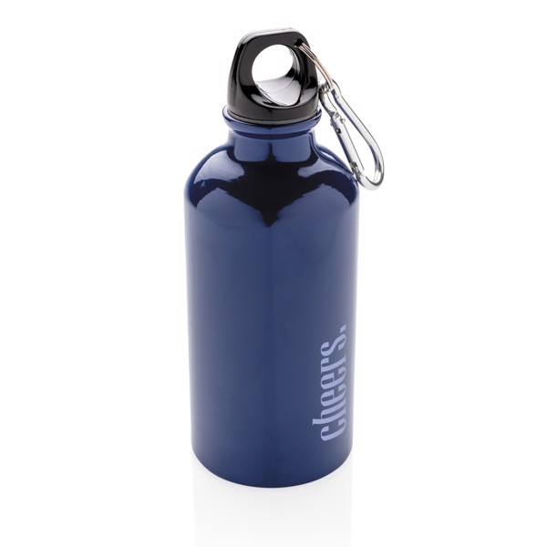 Hliníková sportovní lahev s karabinou - Modrá