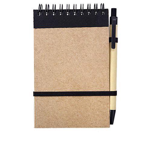 Notes Kraft 90x140/70k gładki z długopisem - Czarny / Beżowy