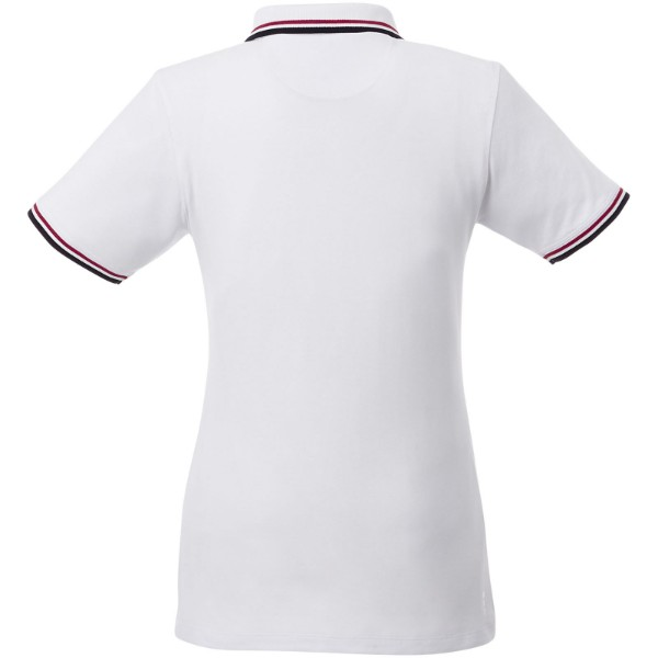 Fairfield short sleeve women's polo with tipping - White / Navy / Red / L